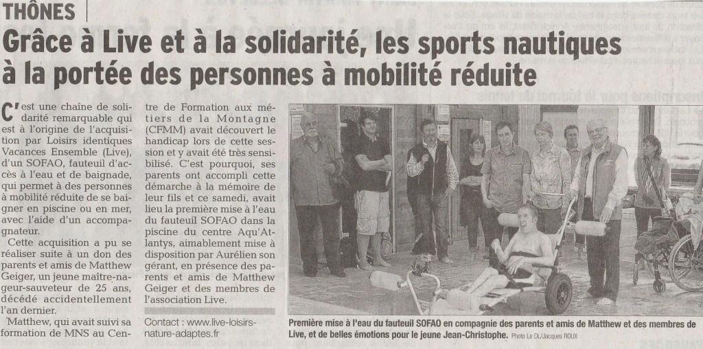 Article du Dauphiné Libéré de l'inauguration du Sofao à Atlantys