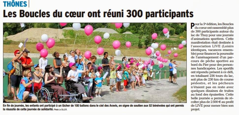 Article du Dauphiné Libéré des Boucles du Coeur au profit de LIVE