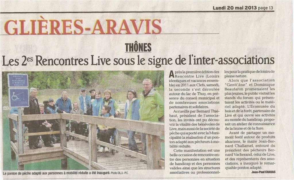 Article du Dauphiné Libéré des Rencontres LIVE au lac de Thuy