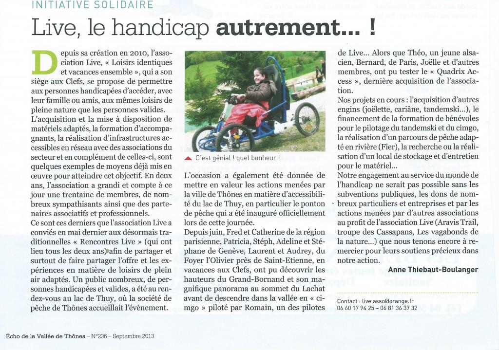Article Echo de la Vallée de Thônes des Rencontres LIVE au lac de Thuy