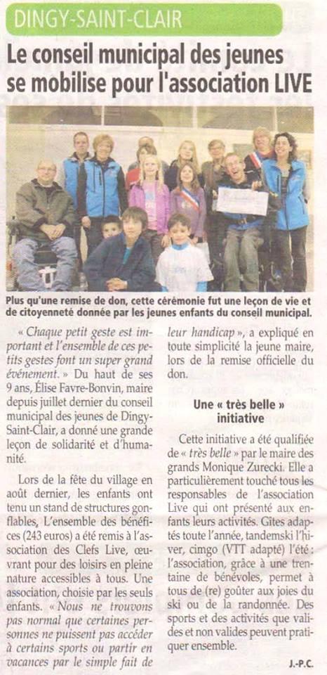 Article de l'Essor Savoyard remise du chèque par le conseil municipal des jeunes de Dingy-Saint-Clair à l'association LIVE