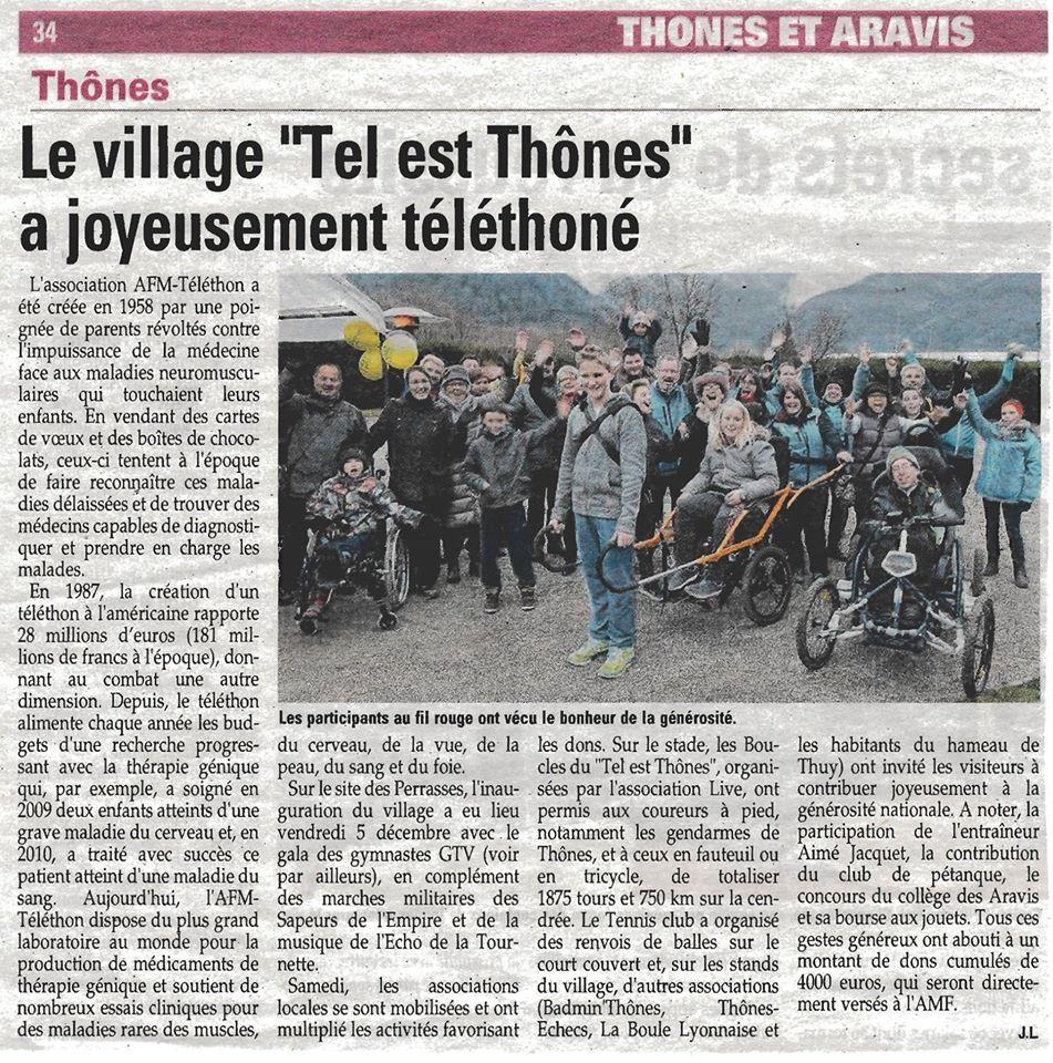 Article de l'Essor Savoyard du village du Tel est Thônes