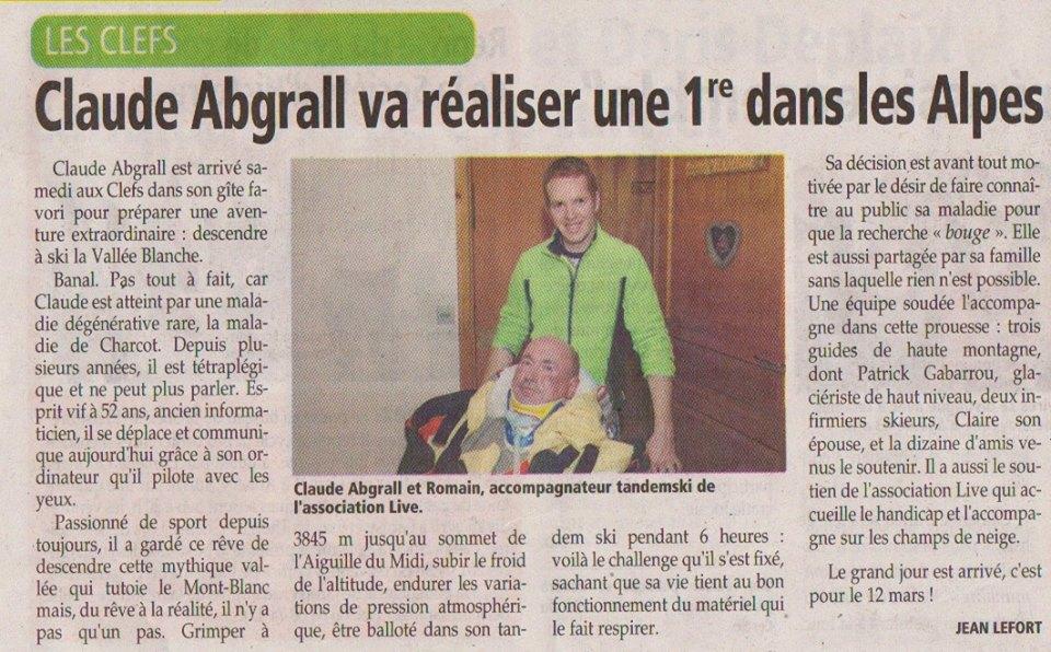 Article de l'Essor Savoyard de la descente de la vallée blanche par Claude Abgral atteint de la maladie de charcot