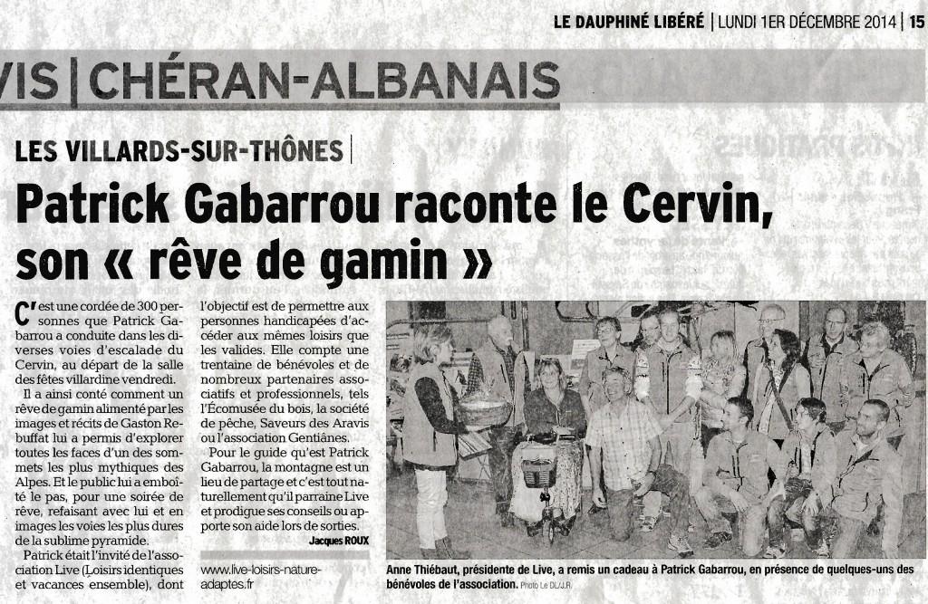 Article du Dauphiné Libéré de la soirée conférence avec Patrick GABARROU