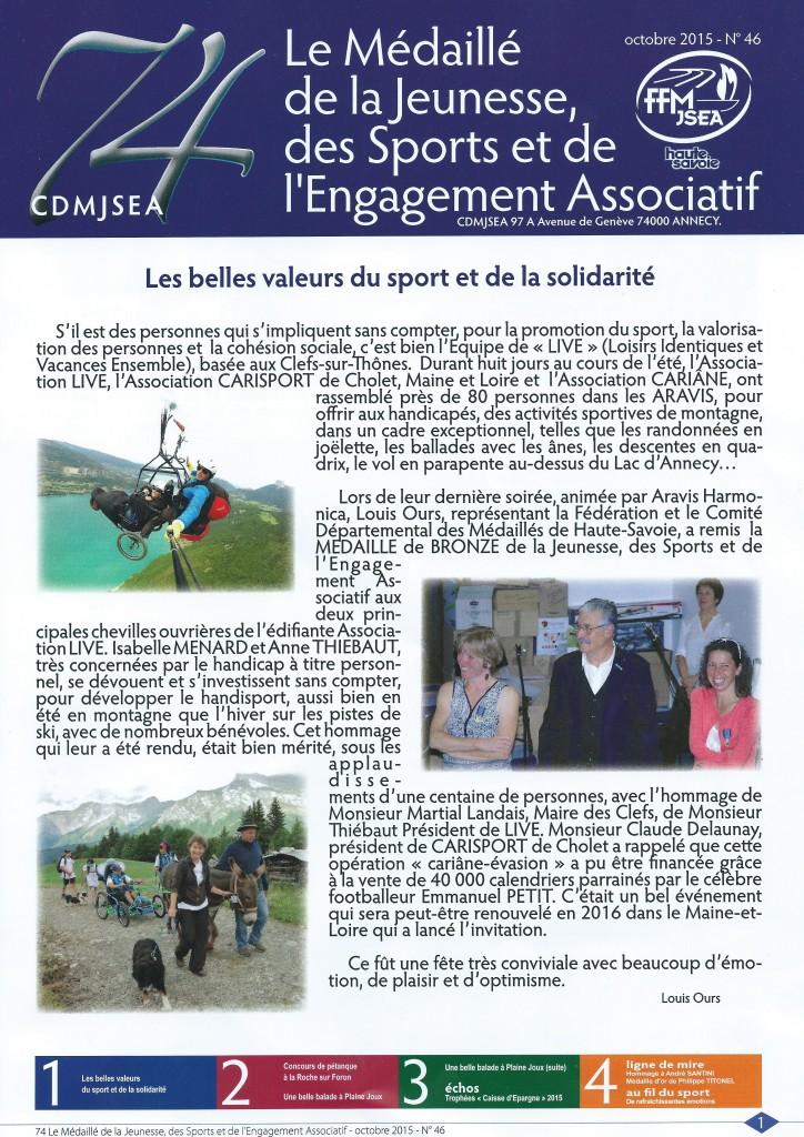 Article des médaillés de la Jeunesse, des Sports et de l'Engagement Associatif