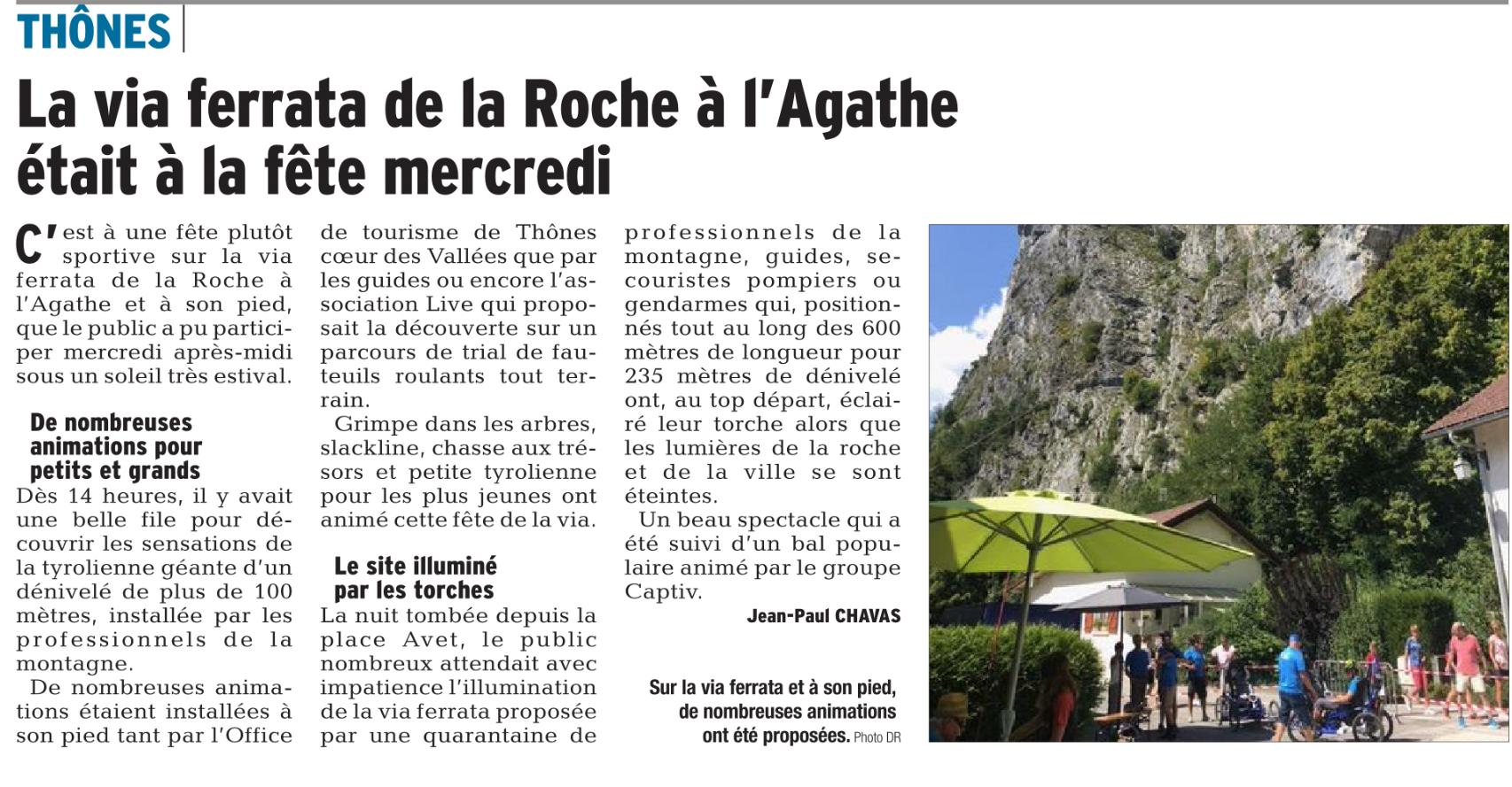 Article Dauphiné Libéré Fête de la Via à Thônes