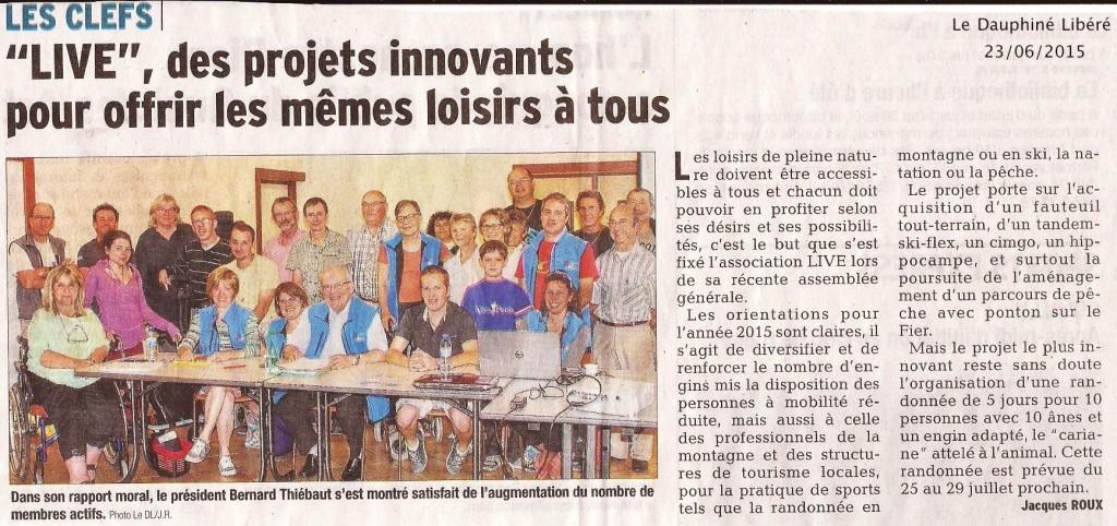 Article Dauphiné Libéré assemblée générale de LIVE