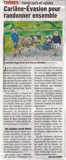 Article du Dauphiné Libéré randonnée