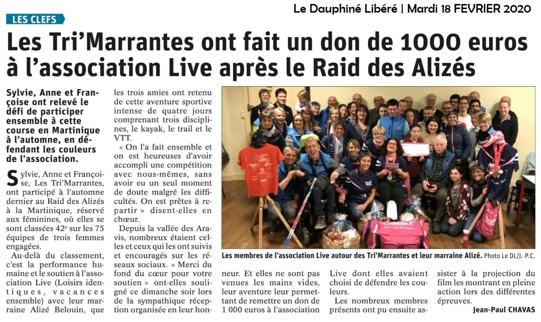 Article DL74 participation des TriMarrantes au Raid des Alizés